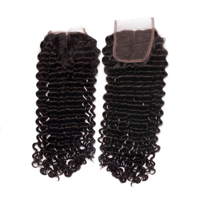 "14"" Middle Part Lace Closure Natural Black Deep Wave Virgin Indian Hair For African American"