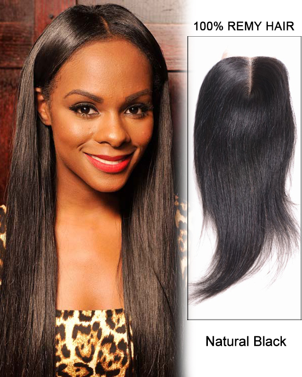 "16"" Middle Part Lace Closure Natural Black Straight Virgin Indian Hair For African American"