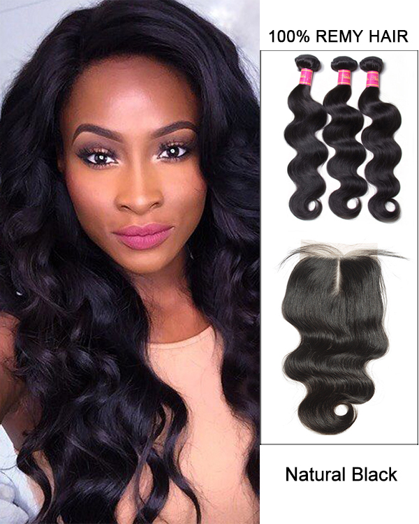 Middle Part Lace Closure Natural Black Body Wave Virgin Hair Lace Closure With 3 Bundles