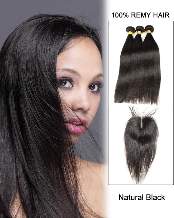 Middle Part Lace Closure Natural Black Straight Virgin Hair Lace Closure With 3 Bundles