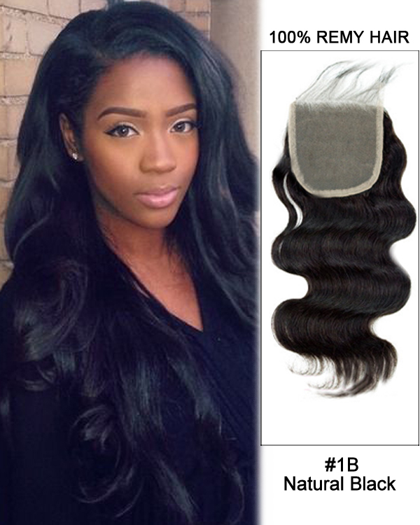"16"" Free Part Lace Closure Natural Black Body Wave Virgin Indian Hair For African American"