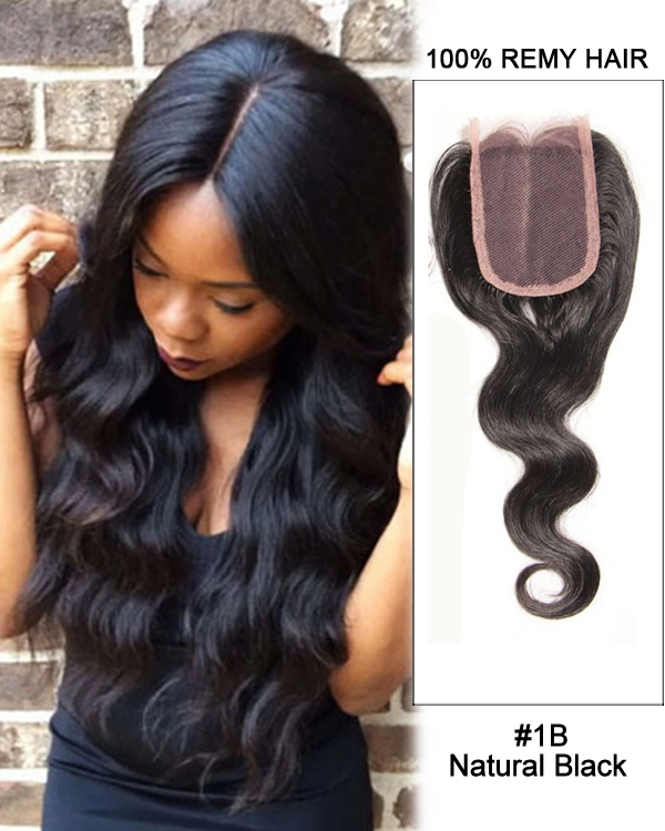 "14""Middle Part Lace Closure Natural Black Body Wave Virgin Brazilian Hair Lace Closure For African American"