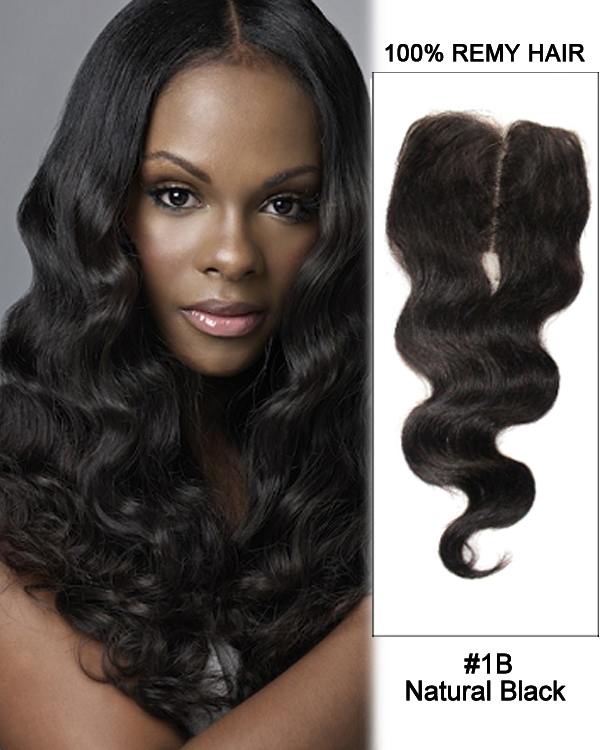 "16"" Middle Part Lace Closure Natural Black Body Wave Virgin Indian Hair For African American"