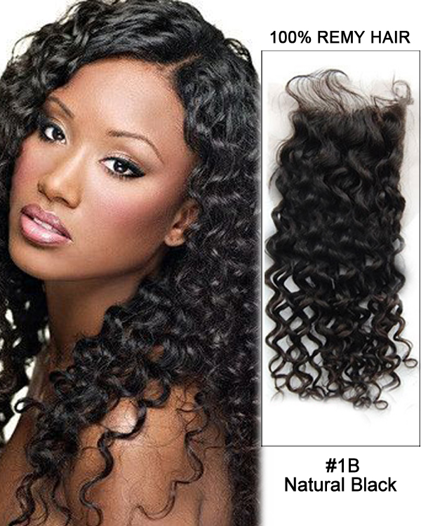 "16"" Free Part Lace Closure Natural Black Curly Wave Virgin Indian Hair For African American"