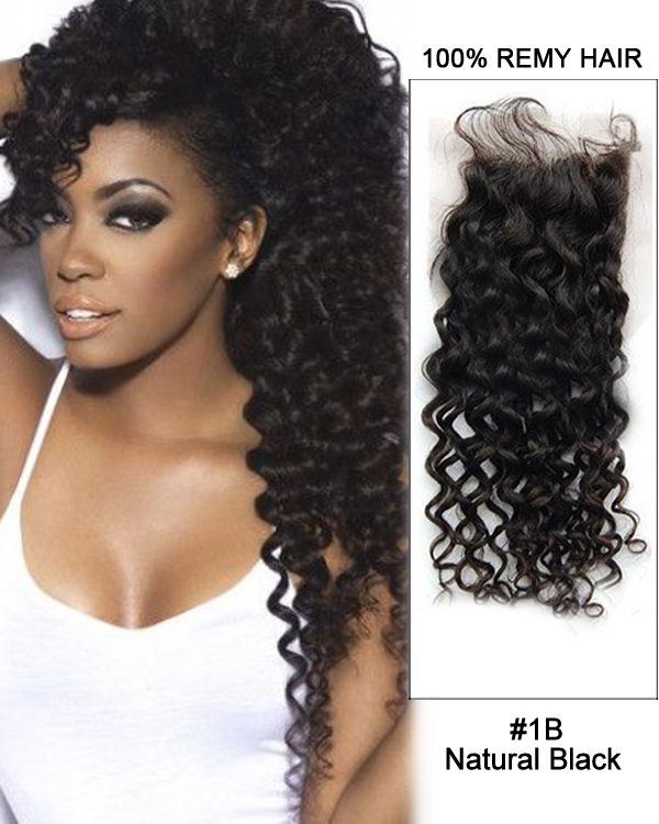 "14"" Natural Black Curly Wave Virgin Indian Hair Lace Closure For African American"