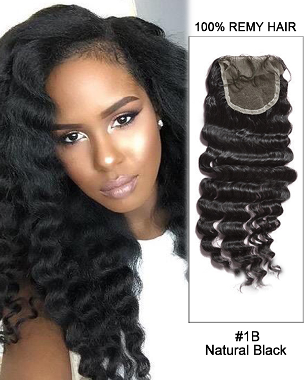 "16"" Free Part Lace Closure Natural Black Deep Wave Virgin Indian Hair For African American"