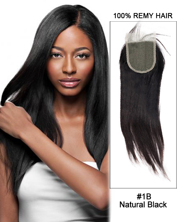 "16"" Free Part Lace Closure Natural Black Straight Virgin Indian Hair For African American"