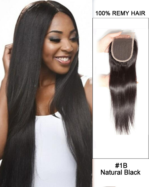 "14"" Free Part Lace Closure Natural Black Straight Lace Closure For African American"