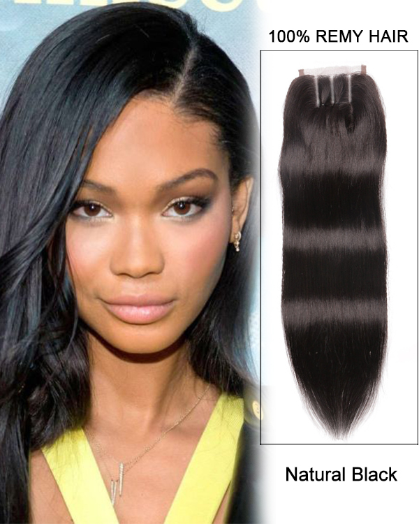 "16"" Three Part Lace Closure Natural Black Straight Virgin Indian Hair For African American"