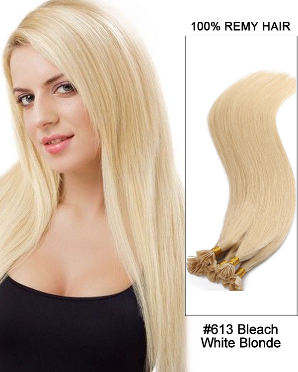 "14""#613 Bleach White Blonde Straight Flat Tip 100% Remy Hair Flat Pre Bonded Hair Extensions-100 strands, 1g/strand"