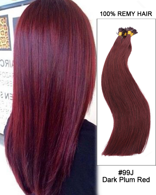 "14""#99J Dark Plum Red Straight Flat Tip 100% Remy Hair Flat Pre Bonded Hair Extensions-100 strands, 1g/strand"