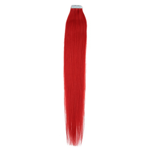 "18"" Red 40 Pieces 100g Tape in Straight Remy Hair Human Hair Extensions"