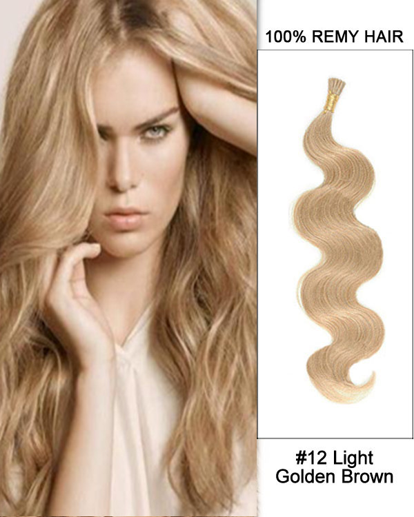 "16"" #12 Light Golden Brown Body Wave Stick Tip I Tip 100% Remy Hair Keratin Hair Extensions-100 strands, 1g/strand"