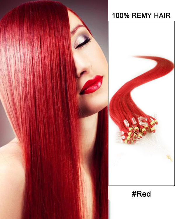 "16"" Red Straight Micro Loop 100% Remy Hair Human Hair Extensions-100 strands, 1g/strand"