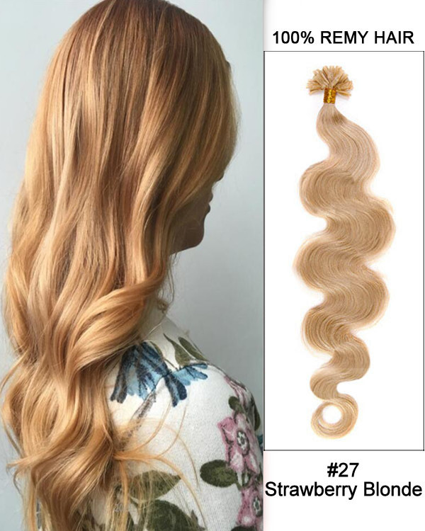 "16"" #27 Strawberry Blonde Body Wave Nail Tip U Tip 100% Remy Hair Keratin Hair Extensions-100 strands, 1g/strand"