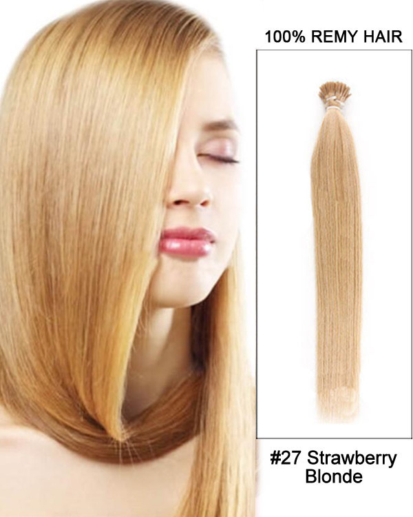 "16"" #27 Strawberry Blonde Straight Stick Tip I Tip 100% Remy Hair Keratin Hair Extensions-100 strands, 1g/strand"