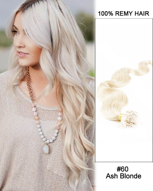 "14"" #60 Ash Blonde Body Wave Micro Loop 100% Remy Hair Human Hair Extensions-100 strands, 1g/strand"