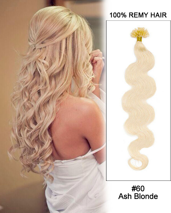 "16"" #60 Ash Blonde Body Wave Nail Tip U Tip 100% Remy Hair Keratin Hair Extensions-100 strands, 1g/strand"