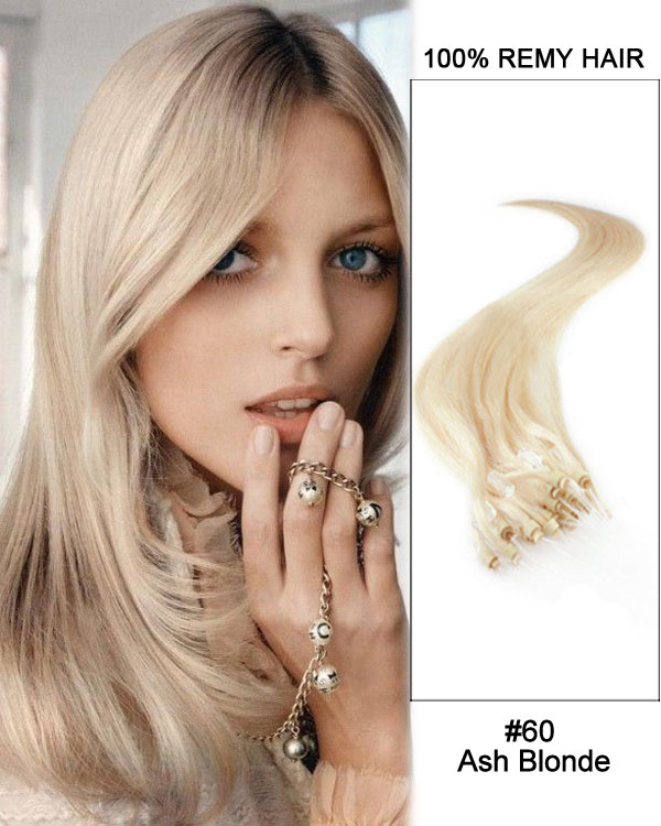 "14"" #60 Ash Blonde Straight Micro Loop 100% Remy Hair Human Hair Extensions-100 strands, 1g/strand"