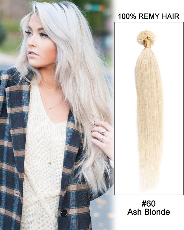 "16"" #60 Ash Blonde Straight Nail Tip U Tip 100% Remy Hair Keratin Hair Extensions-100 strands, 1g/strand"