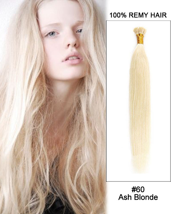 "14"" #60 Ash Blonde Straight Stick Tip I Tip 100% Remy Hair Keratin Hair Extensions-100 strands, 1g/strand"