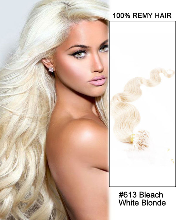 "14"" #613 Bleach White Blonde Body Wave Micro Loop 100% Remy Hair Human Hair Extensions-100 strands, 1g/strand"