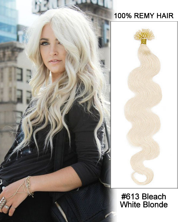 "16"" #613 Bleach White Blonde Body Wave Nail Tip U Tip 100% Remy Hair Keratin Hair Extensions-100 strands, 1g/strand"