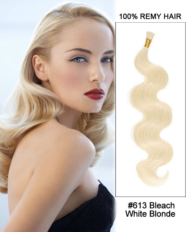 "16"" #613 Bleach White Blonde Body Wave Stick Tip I Tip 100% Remy Hair Keratin Hair Extensions-100 strands, 1g/strand"