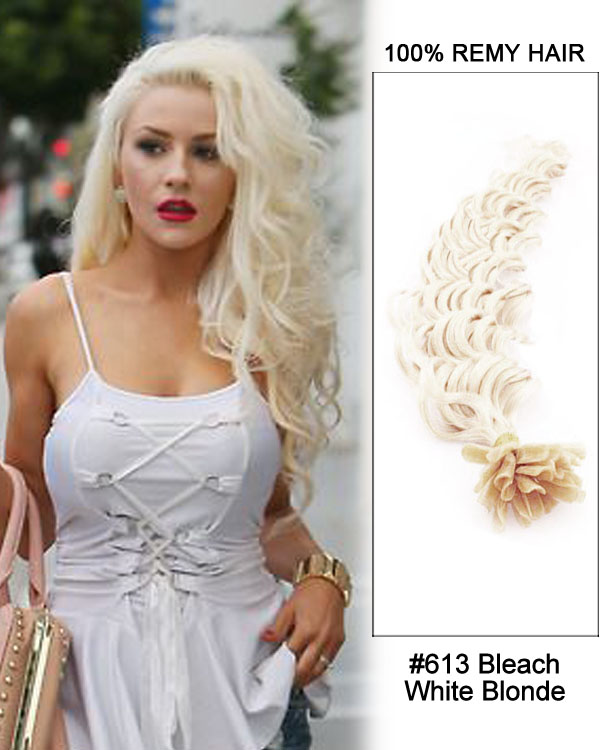 16 613 Bleach White Blonde Deep Wave Nail Tip U Tip 100 Remy Hair