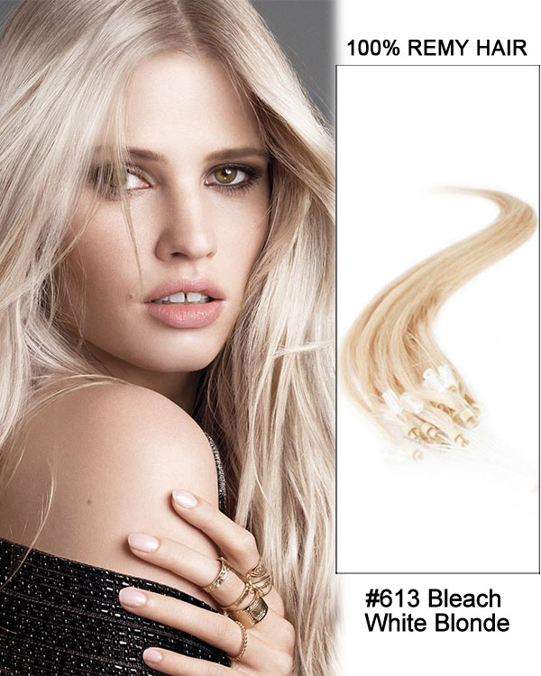 "16"" #613 Bleach White Blonde Straight Micro Loop 100% Remy Hair Human Hair Extensions-100 strands, 1g/strand"