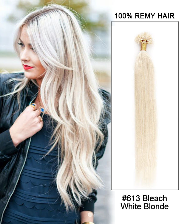 "16"" #613 Bleach White Blonde Straight Nail Tip U Tip 100% Remy Hair Keratin Hair Extensions-100 strands, 1g/strand"