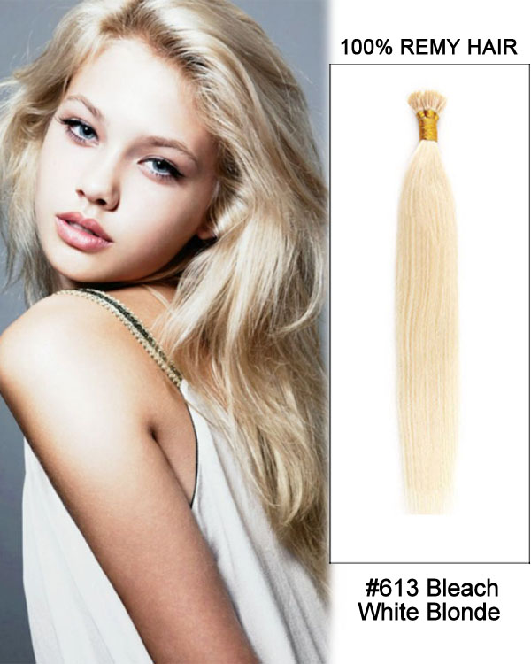 "14"" #613 Bleach White Blonde Straight Stick Tip I Tip 100% Remy Hair Keratin Hair Extensions-100 strands, 1g/strand"