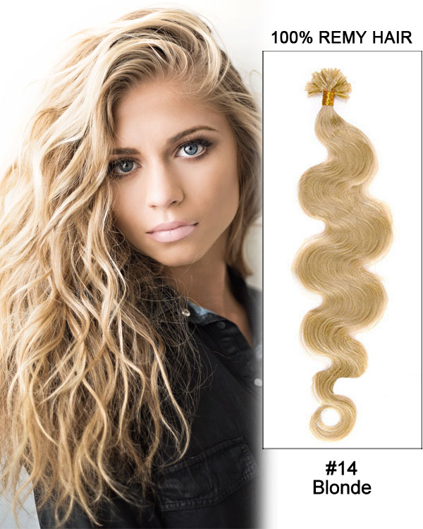 "16"" #14 Blonde Body Wave Nail Tip U Tip 100% Remy Hair Keratin Hair Extensions-100 strands, 1g/strand"