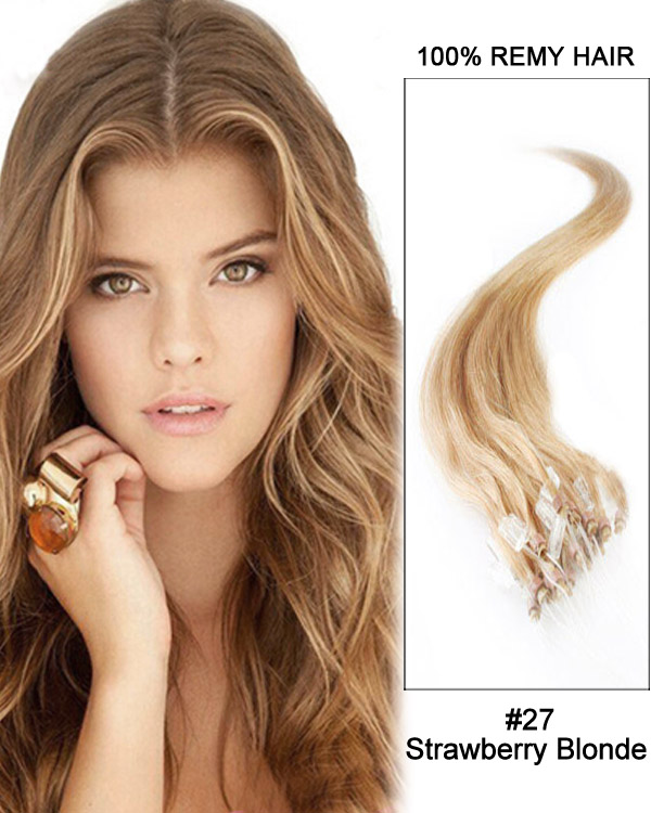 "22"" 100 Strands Loop Micro Ring Beads Tipped Remy Hair Human Hair Extensions"