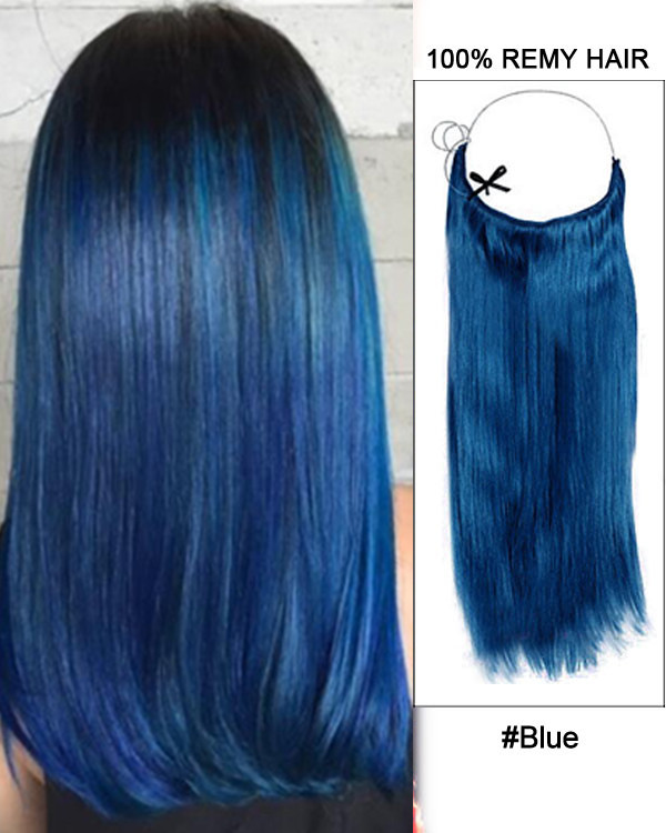 "22"" Blue Straight Invisible Wire Secret Hair Extensions 100% Remy Hair Human Hair Extensions"