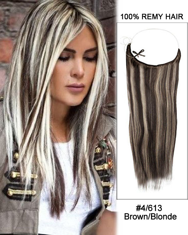 18 4613 Brownblonde Straight Invisible Wire Secret Hair