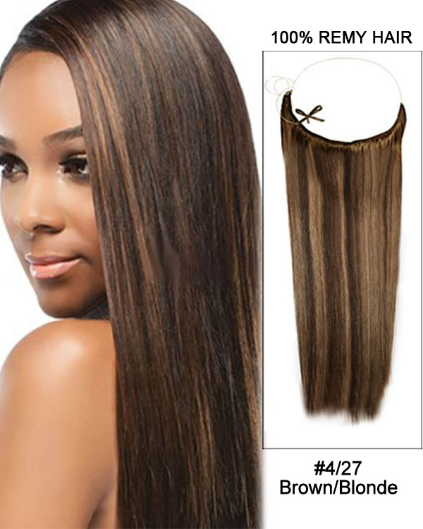 16 427 Brownblonde Straight Invisible Wire Secret Hair Extensions