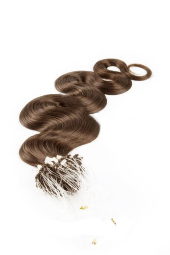 "16"" #6 Chestnut Brown Body Wave Micro Loop 100% Remy Hair Human Hair Extensions-50 strands, 1g/strand"