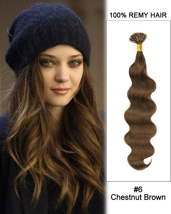 "16"" #6 Chestnut Brown Body Wave Stick Tip I Tip 100% Remy Hair Keratin Hair Extensions-100 strands, 1g/strand"