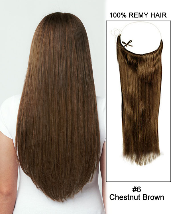 "16"" #6 Chestnut Brown Straight Flip In Human Hair Extensions 100% Remy Hair"