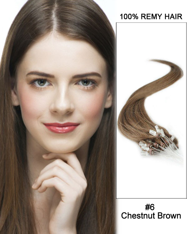 "14"" #6 Chestnut Brown Straight Micro Loop 100% Remy Hair Human Hair Extensions-50 strands, 1g/strand"
