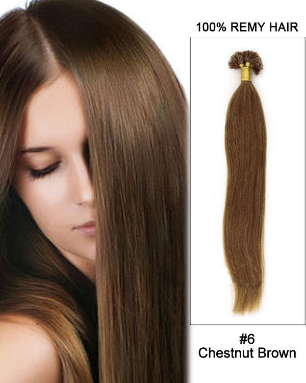"16"" #6 Chestnut Brown Straight Nail Tip U Tip 100% Remy Hair Keratin Hair Extensions-100 strands, 1g/strand"