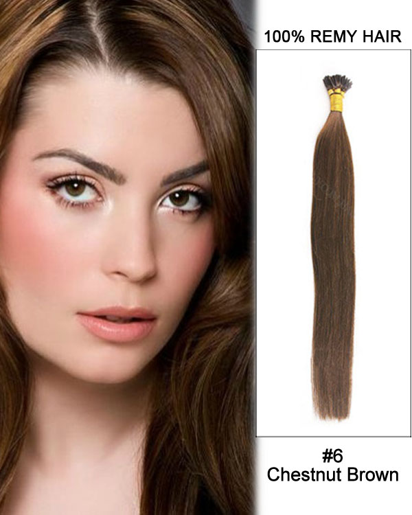 "16"" #6 Chestnut Brown Straight Stick Tip I Tip 100% Remy Hair Keratin Hair Extensions-100 strands, 1g/strand"