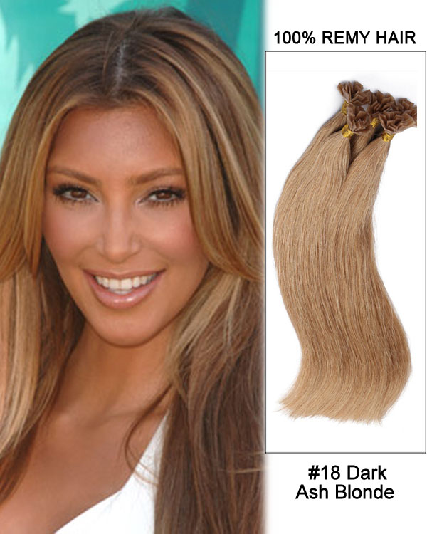 1418 Dark Ash Blonde Straight Flat Tip 100 Remy Hair Flat Pre