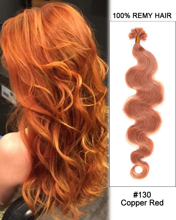 "16"" #130 Copper Red Body Wave Nail Tip U Tip 100% Remy Hair Keratin Hair Extensions-100 strands, 1g/strand"