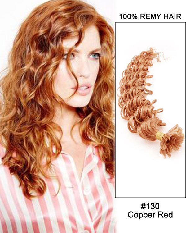 "16"" #130 Copper Red Deep Wave Nail Tip U Tip 100% Remy Hair Keratin Hair Extensions-100 strands, 1g/strand"
