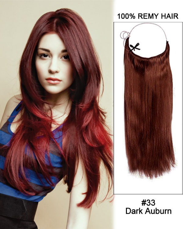"22"" #33 Dark Auburn Straight Invisible Wire Secret Hair Extensions 100% Remy Hair Human Hair Extensions"