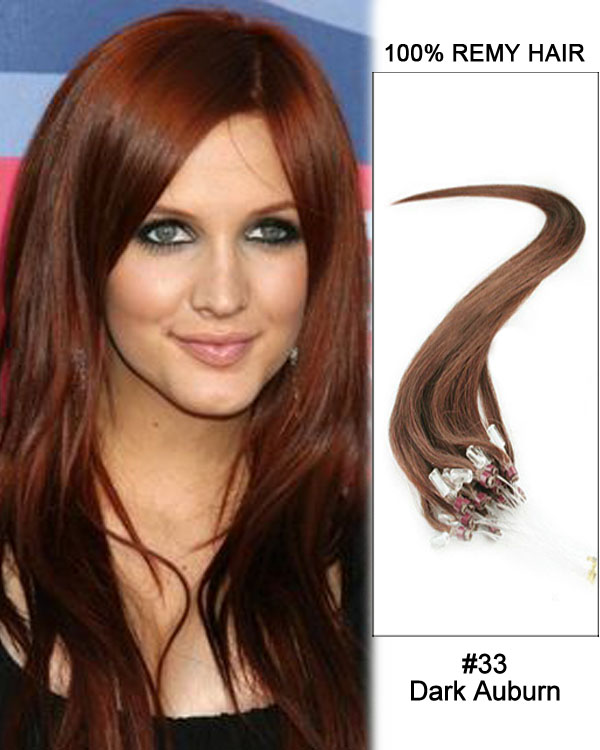 "16"" #33 Dark Auburn Straight Micro Loop 100% Remy Hair Human Hair Extensions-100 strands, 1g/strand"