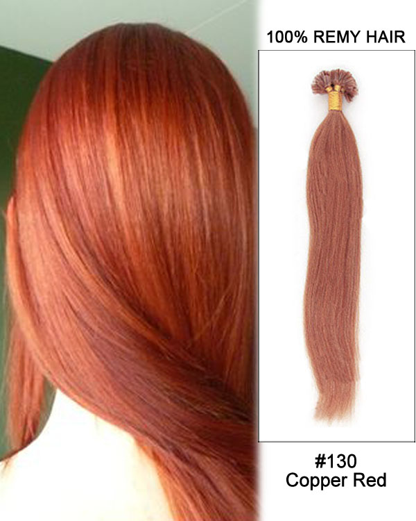 "16"" #130 Copper Red Straight Nail Tip U Tip 100% Remy Hair Keratin Hair Extensions-100 strands, 1g/strand"