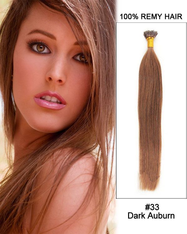 "14"" #33 Dark Auburn Straight Stick Tip I Tip 100% Remy Hair Keratin Hair Extensions-100 strands, 1g/strand"